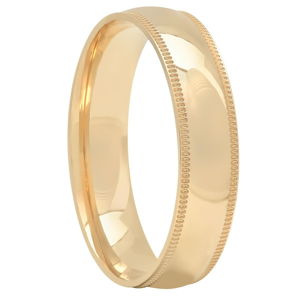 14KT Yellow Gold High Polished Milgrain Band, 5mm
