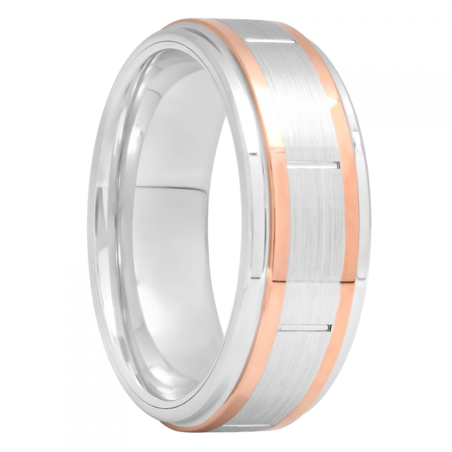 Cobalt Two-Tone Rose Gold Tone And White Band, 8mm