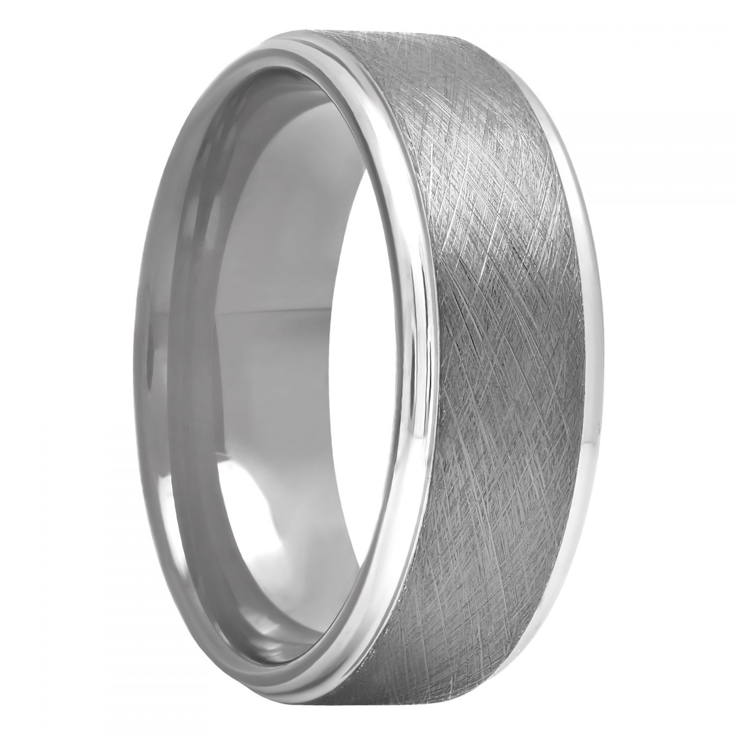 Tantalum Gunmetal Scratch Finish Band, 8mm