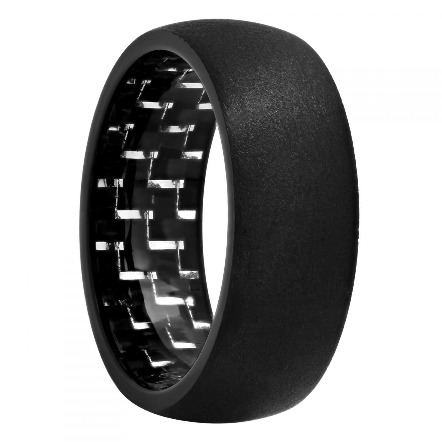Tantalum Matte Black Carbon Fiber Inside Band, 8mm