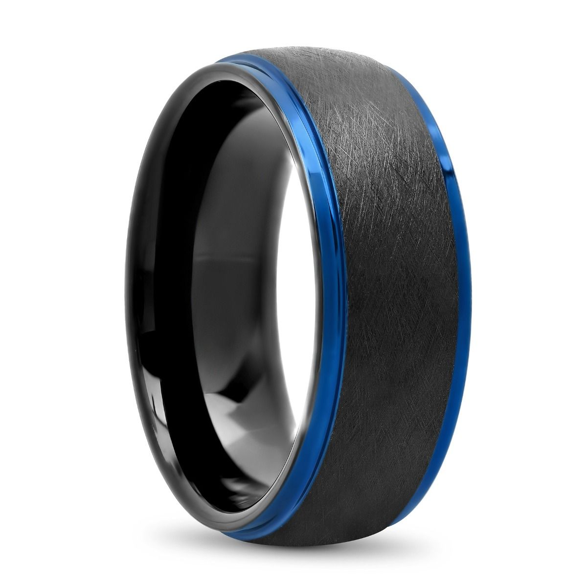 Tantalum Black Matte Finish High Polish Blue Step Edge Ring, 7mm