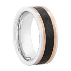 Black Textured Center Cobalt Band, 8MM
