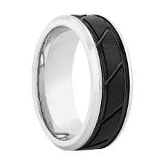 Cobalt Two-Tone Black Band With Slant Center, 8MM
