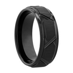 Cobalt Black Etched V Design Band, 8MM