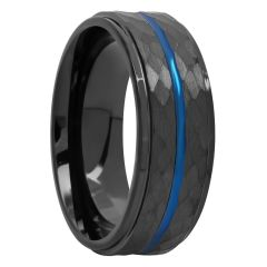 Cobalt Black And Blue Hammered Band, 8mm