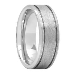 Tungsten Scratch Finish Double Grooved Fashion Band, 8mm