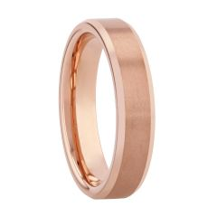 Tungsten Rose Beveled Edge Band, 6MM