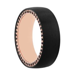 Tungsten Black & Rose Natural Black Sapphire Band, 8MM