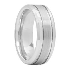 White Tugsten Brushed Center Double Grooved Fashion Band, 8mm