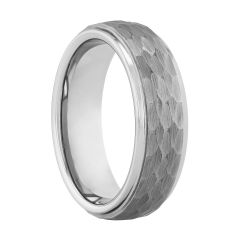 Tungsten Hammered Step Edge Band, 6MM