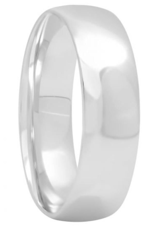 14KT White Gold High Polished Band, 6mm