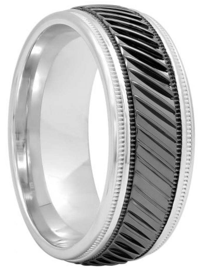 Sterling Silver Two-Tone Faceted Band, 8mm