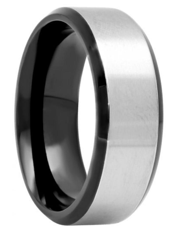 Titanium Black And White Two-Tone Band, 8mm