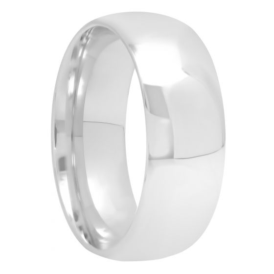 Sterling Silver High Polished Band, 8mm