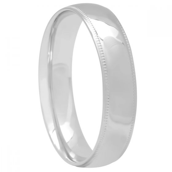 14KT White Gold High Polished Milgrain Band, 5mm