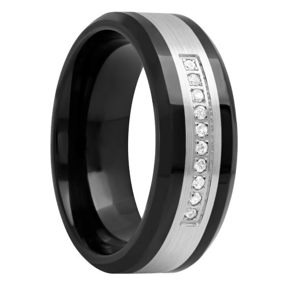 Cobalt And Stainless Steel 1/10 CTTW Diamond Band, 8mm