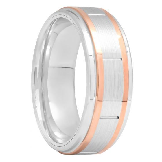 Cobalt Two-Tone Rose Gold Tone And White Band