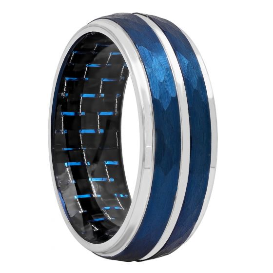 Cobalt Blue And White Two-Tone Carbon Fiber Inside Band, 8mm