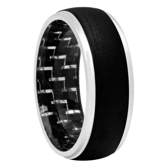 Black Cobalt And Carbon Fiber Inlay Band, 8mm
