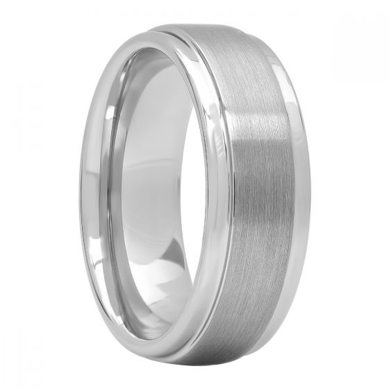 Tungsten Step Edge Brush Finish Wedding Band, 8mm
