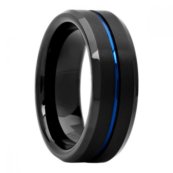 Black Matte Finish Tungsten Blue Center Grooved Fashion Band, 8mm
