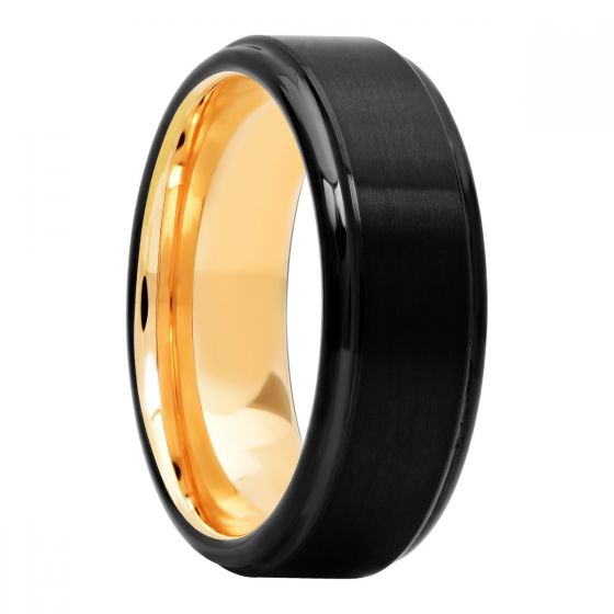 Black Matte And High Polish Rose Ip Inside Tungsten Fashion Band, 8mm