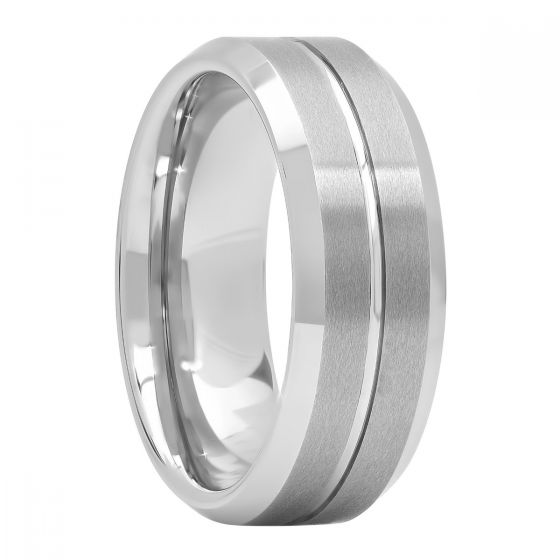Tungsten Center Groove Satin Finish Wedding Band, 8mm