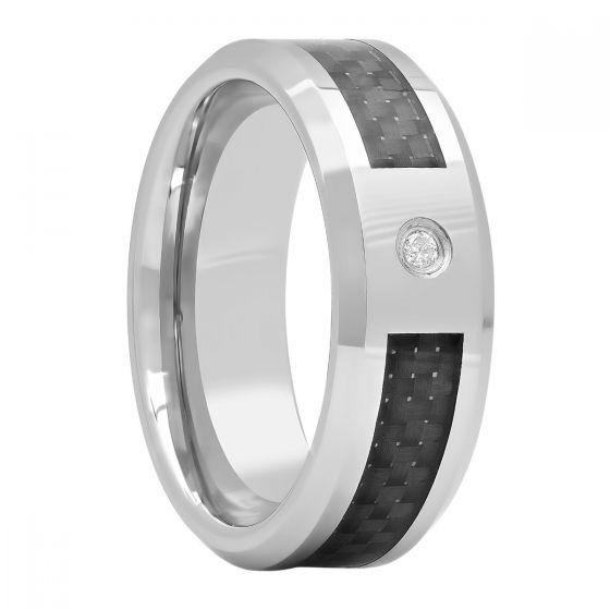 Tungsten .03 Ct Round Diamond Carbon Fiber Inlay Fashion Band, 8mm