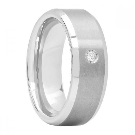 Tungsten .05 Ct Round Diamond Beveled Edge Fashion Band, 8mm