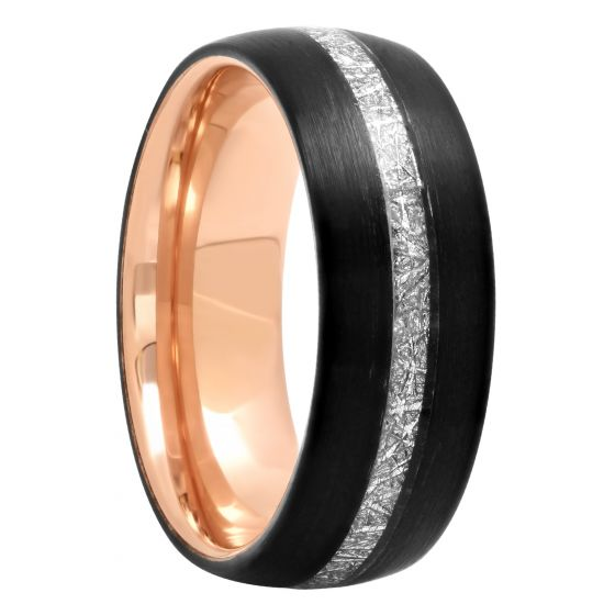 Tantalum Two-Tone Rose And Black Frozen Center, 8mm