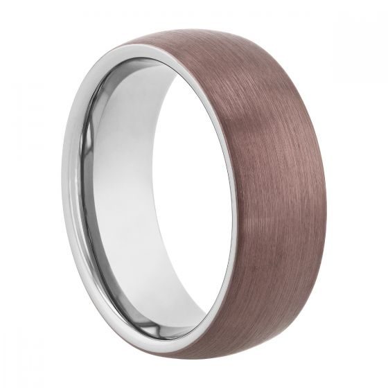 Tantalum Bronze Brushed Finish Domed Band, 8MM