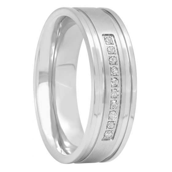 Stainless Steel And 1/10 CTTW Diamond Band, 7mm