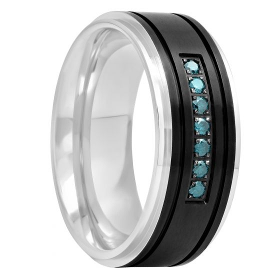 Black Stainless Steel And Blue Diamond Band