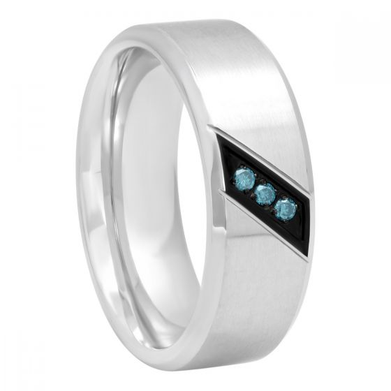 Stainless Steel And Blue Diamond 1/20 CTTW Band