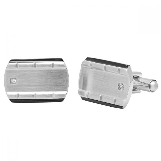 Stainless Steel Black Ion Plating Edge Satin Finish Cufflinks