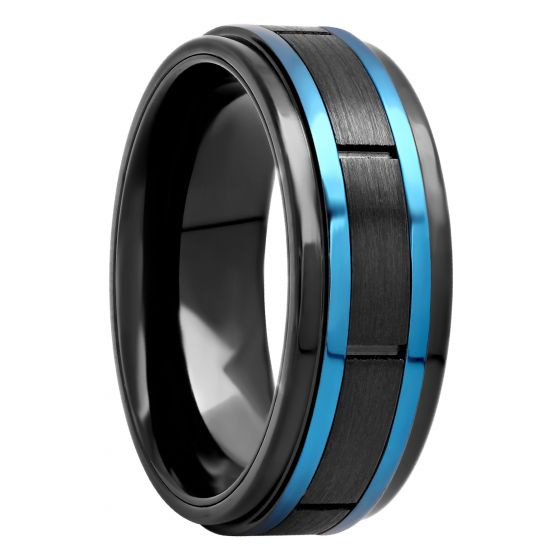 Black Stainless Steel Station With Blue Accent Band, 8mm