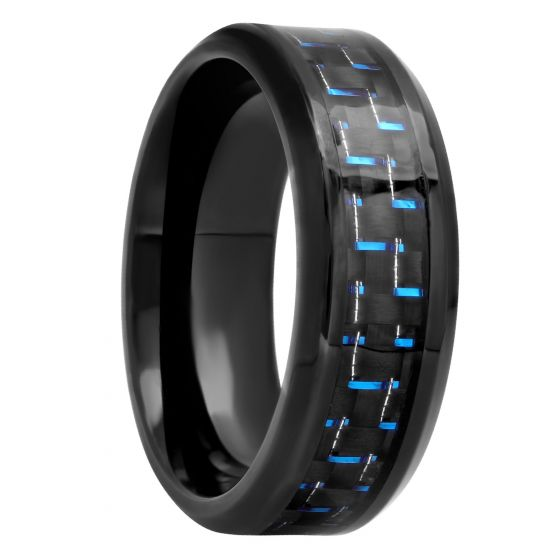 Black Stainless Steel With Blue Carbon Fiber Band, 8mm