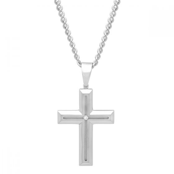 .03CT Stainless Steel Cross Pendant GH I2