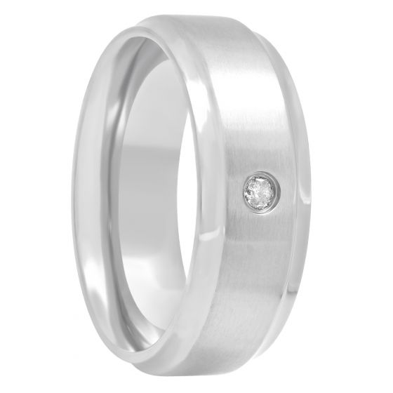 Titanium Diamond Solitaire Band 1/20CTTW, 8mm