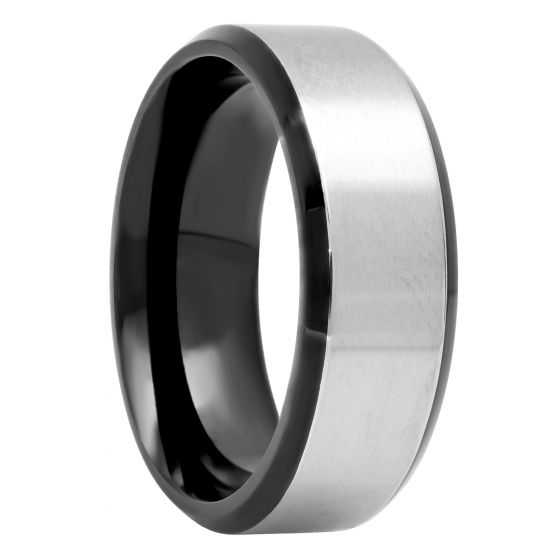 Titanium Black And White Two-Tone Band, 8mm